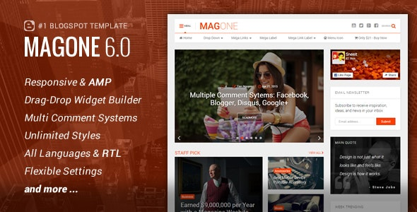 MagOne - Responsive News & Magazine Blogger Template Free Download