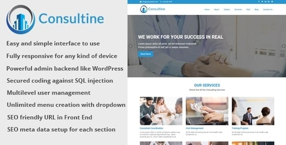 Consultine - Consulting, Business and Finance Website CMS Script Free Download
