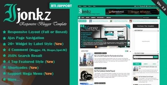 Ijonkz Responsive Magazine News Blogger Template Free Download