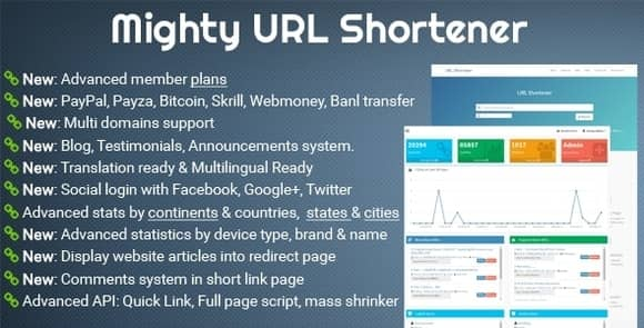Mighty URL Shortener PHP Nulled Script