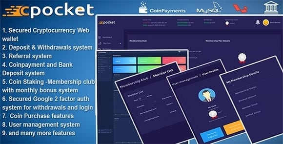 Cpocket Cryptocurrency Wallet Nulled PHP Script