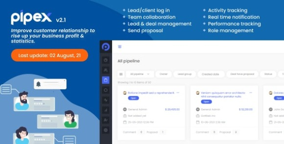 PipeX CRM v2.1 Nulled – By GainHQ Laravel PHP Script