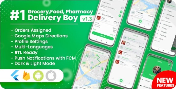 Delivery Boy for Groceries Foods Pharmacies Stores Flutter App Source Code