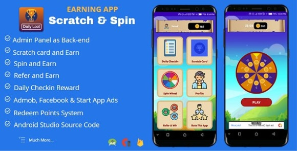 Scratch and Spin to Win Android App with Earning System