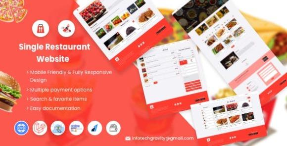 Single Restaurant Laravel Website and Admin Panel