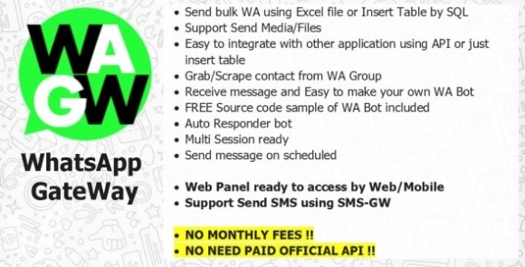 WA-GW WhatsApp and SMS GateWay Blast and Chatbot with SAAS