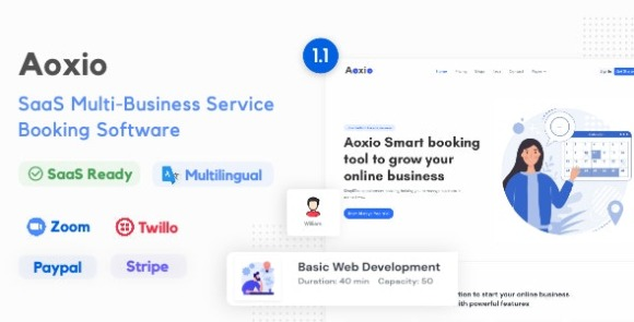 Aoxio SaaS Multi Business Service Booking Software Nulled