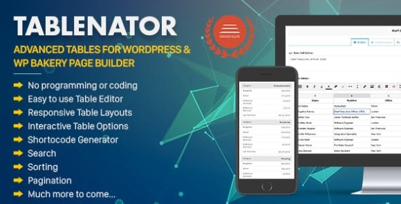 Tablenator v2.1.9.2 – Easy & Advanced Tables for WordPress Plugin Free