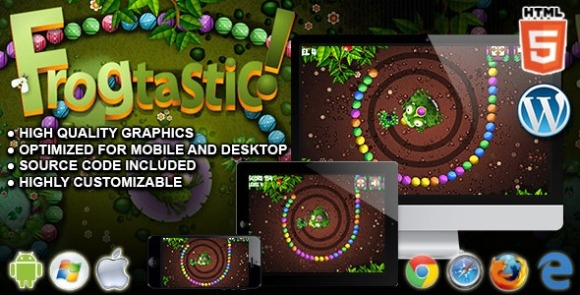 Frogtastic v1.0 – HTML5 Puzzle Game Source Code