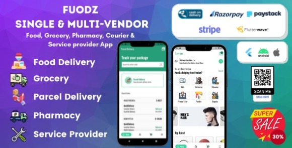 Fuodz v1.3.7 – Grocery, Food, Pharmacy Courier & Service Provider + Backend + Driver & Vendor App Source Code
